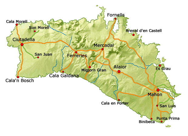 Menorca map - detailed map with beaches | Menorca